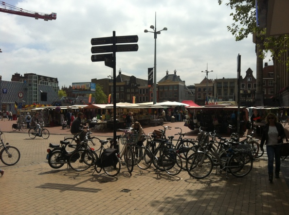 Market day on the main square in Groningen