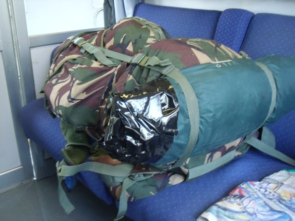 The new slim line rucksack with repaired tent bag.