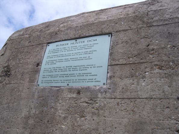 Dedication to Bunker Hunker DCM who silenced the machine gun firing from this bunker.