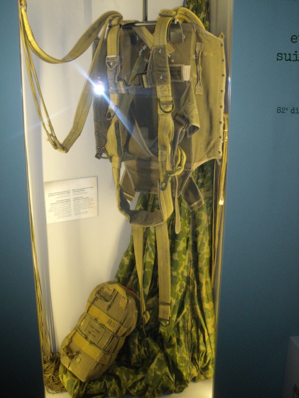 Camouflage parachute issued to a paratrooper in 1944. There were not enough to go around so some paratroopers used white silk ones.